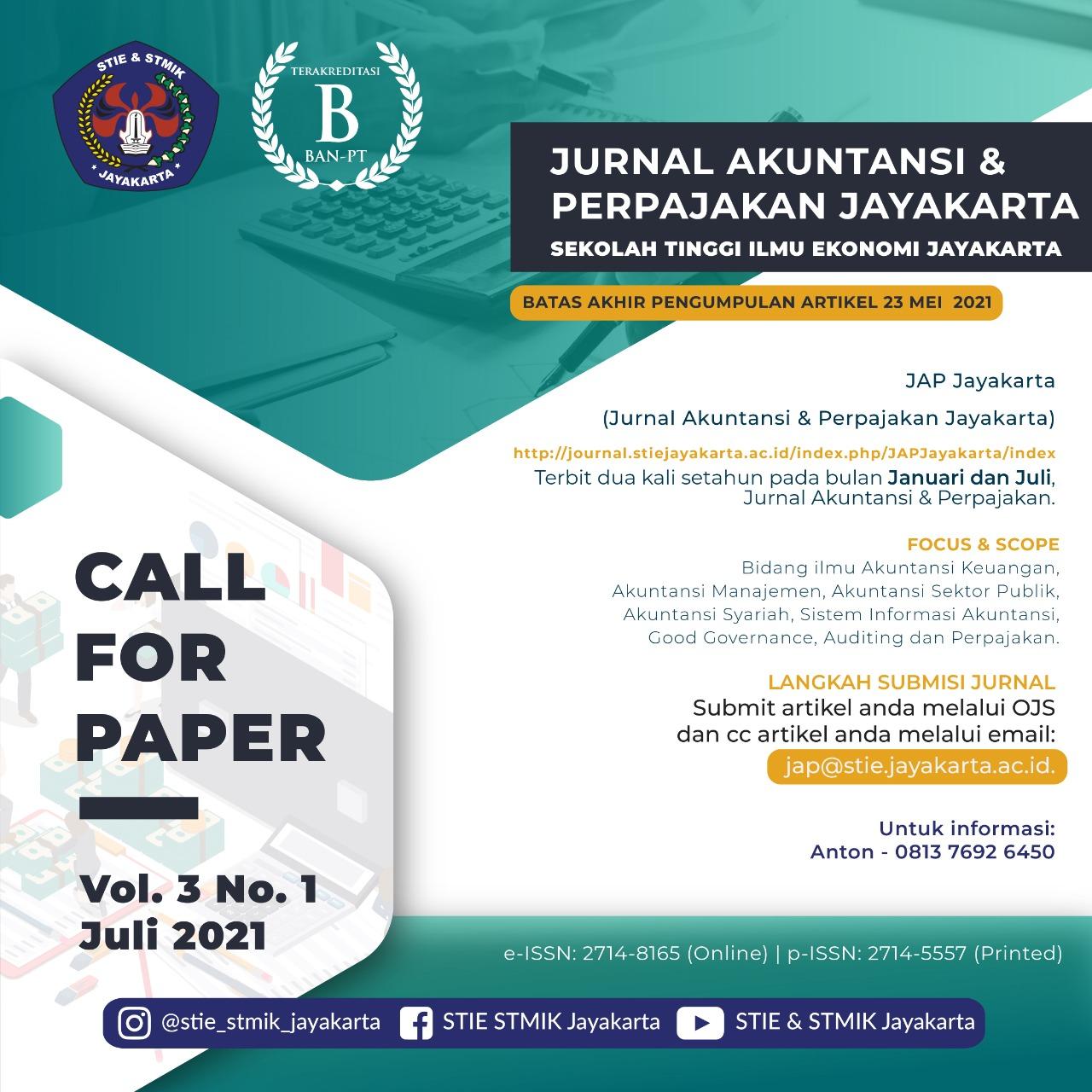 """call paper JAP Jayakarta (jurnal akuntansi & perpajakan Jayakarta)"