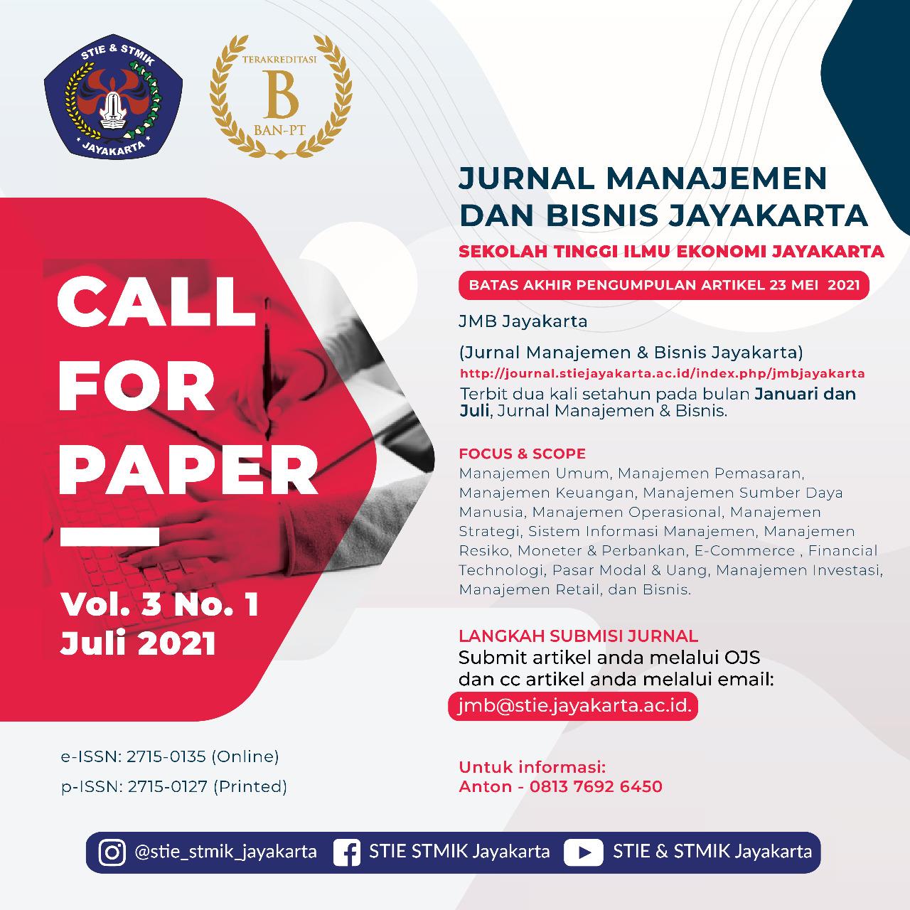 Call paper jmb jayakarta, jurnal manajemen dan bisnis jayakarta